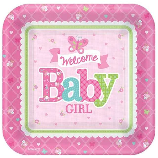 """Talerzyki papierowe """"Welcome Baby Girl"""", AMSCAN, 18 cm, 8 szt"""