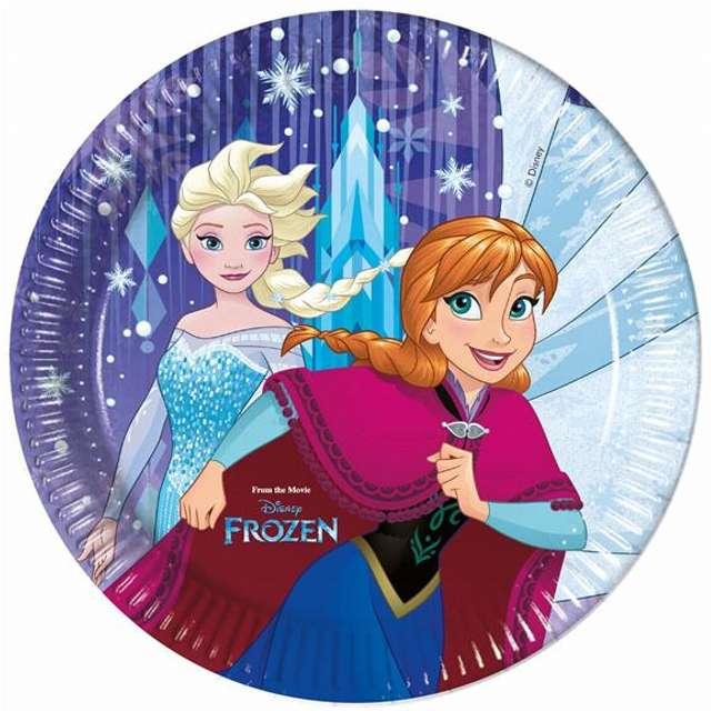 """Talerzyki papierowe """"Frozen Snowflakes"""", 23 cm, 8 szt"""