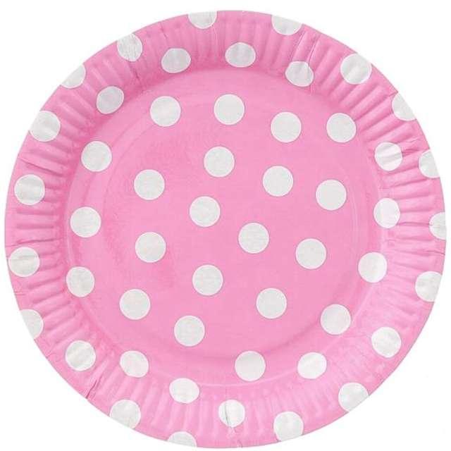 """Talerzyki papierowe """"Groszki"""", różowe jasne, 23 cm, 6 szt"""