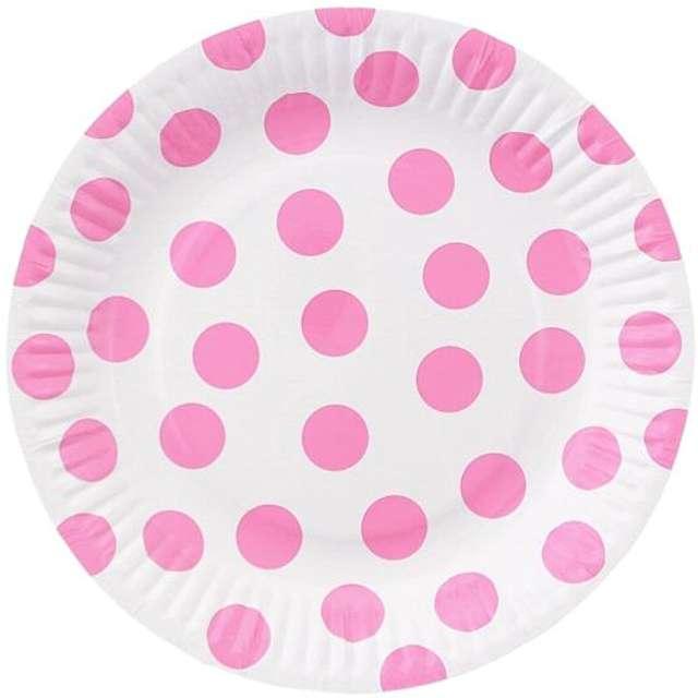 """Talerzyki papierowe """"Groszki"""", różowe jasne, 18 cm, 6 szt"""