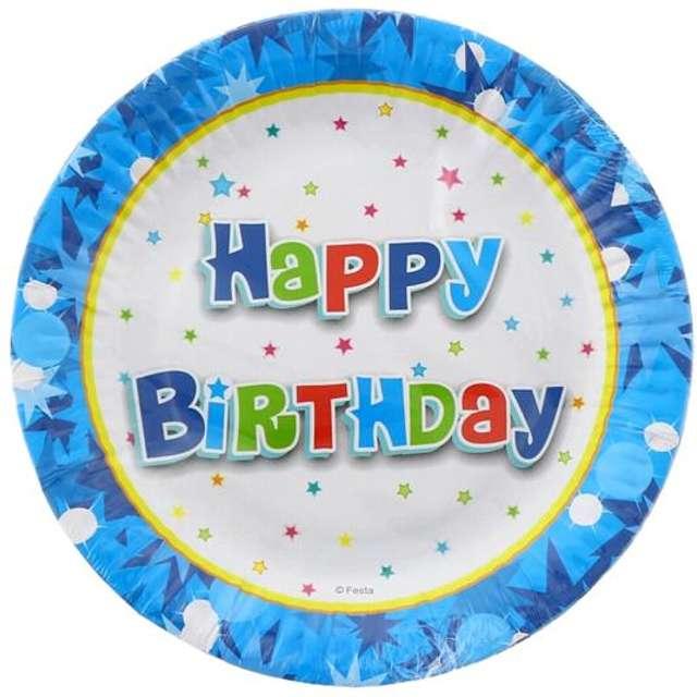 """Talerzyki papierowe """"Happy Birthday"""", niebieskie, 18 cm, 6 szt"""