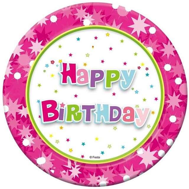 """Talerzyki papierowe """"Happy Birthday"""", różowe, 18 cm, 6 szt"""