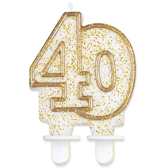 """Świeczka na tort """"40"""", GoDan, złota z brokatem, 8 cm"""