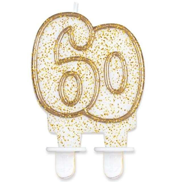 """Świeczka na tort """"60"""", GoDan, złota z brokatem, 8 cm"""