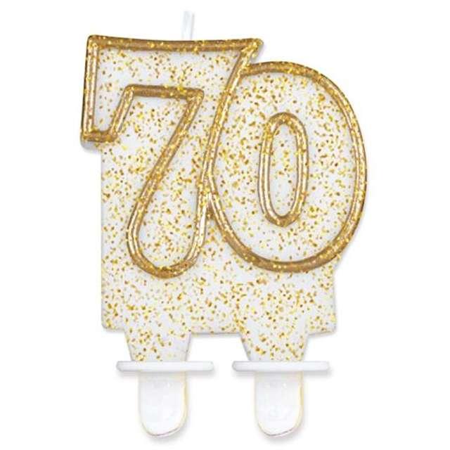 """Świeczka na tort """"70"""", GoDan, złota z brokatem, 8 cm"""