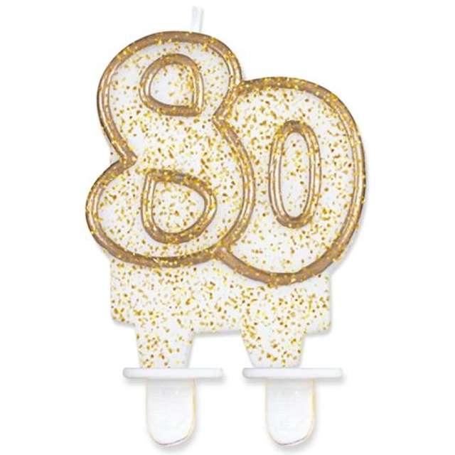 """Świeczka na tort """"80"""", GoDan, złota z brokatem, 8 cm"""