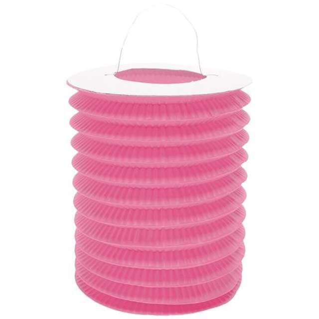 """Lampion papierowy """"Walec"""", 15 cm, różowy"""
