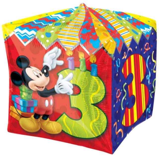 """Balon foliowy """"Mickey Mouse 3 urodziny"""", AMSCAN, 15"""" QBZ"""