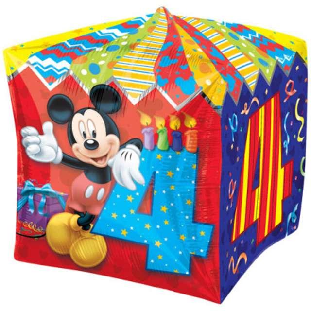"""Balon foliowy """"Mickey Mouse 4 urodziny"""", AMSCAN, 15"""" QBZ"""