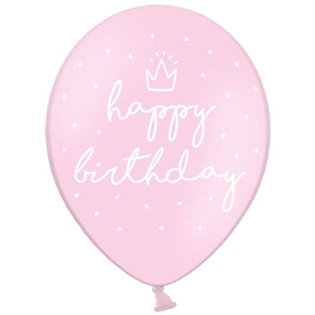 "Balony ""Happy Birthday"", pastel różowy, STRONG, 12"", 50 szt"