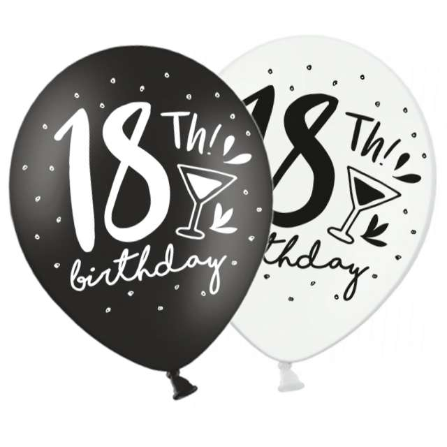 "Balony ""18th Birthday"", pastel white, black, STRONG, 12"", 50 szt"