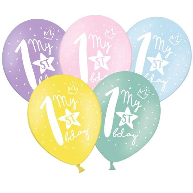 """Balony """"1 - My 1st Birthday"""", mix, 12"""", STRONG,  50 szt"""
