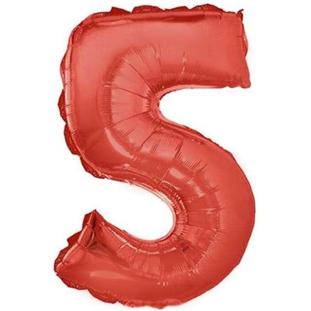 """Balon foliowy cyfra 5, 16"""", OEM, czerwony"""