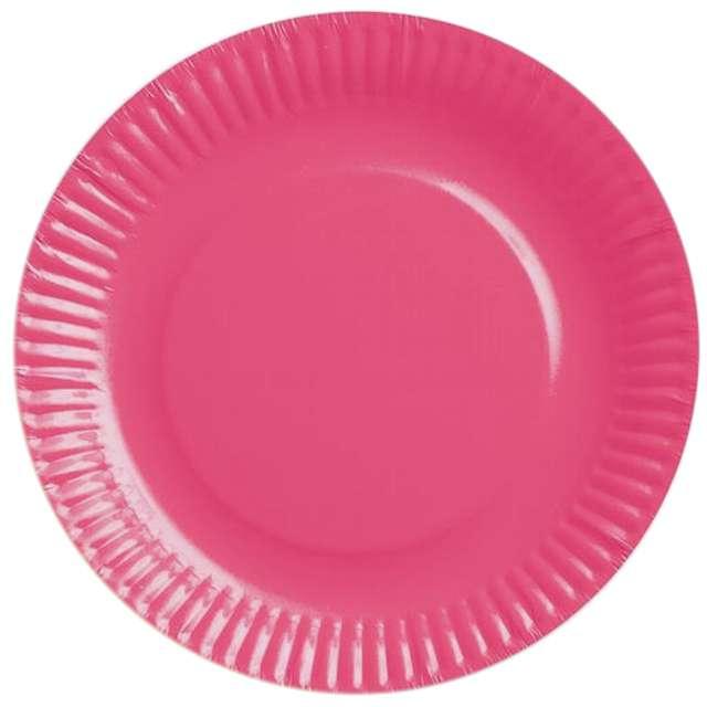 """Talerzyki papierowe """"gładkie"""", różowe, 18 cm, 6 szt"""