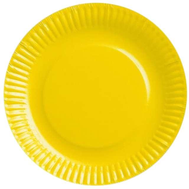 """Talerzyki papierowe """"gładkie"""", żółte, 18 cm, 6 szt"""