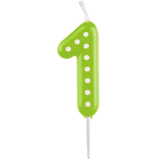"""Świeczka na tort """"Cyfra 1 Kropeczki"""", AMSCAN, zielona"""
