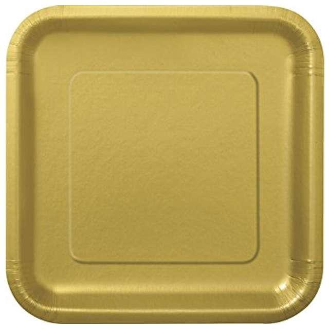 """Talerzyki papierowe """"Kwadrat XL"""", złote, 23 cm, 14 szt"""