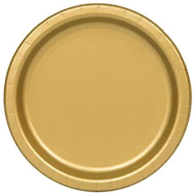 """Talerzyki papierowe """"Premium UNIQUE L"""", złote, 21,9 cm, 8 szt"""
