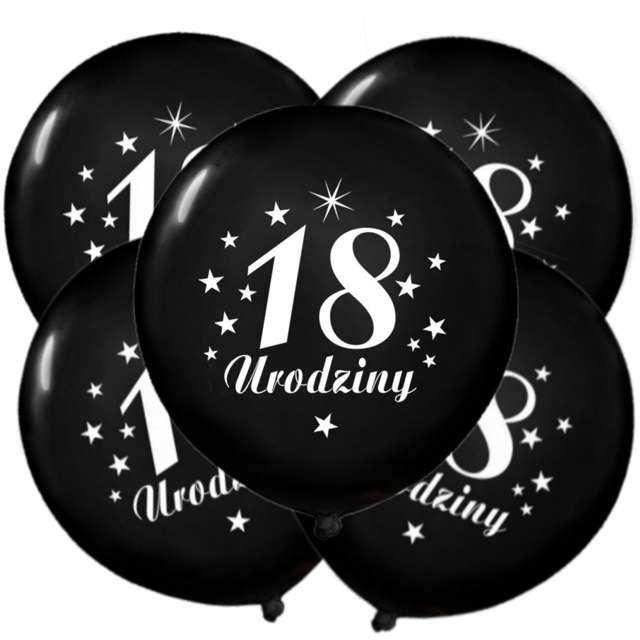 """Balony 12"""", """"Liczba 18 Urodziny"""", czarne, 5 szt"""