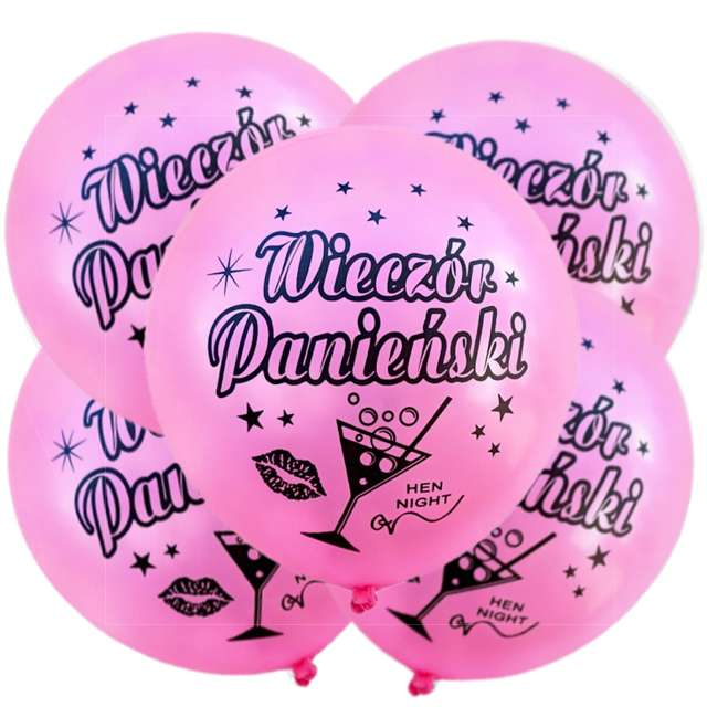 """Balony 12"""", """"Wieczór Panieński"""", różowe, 5 szt"""