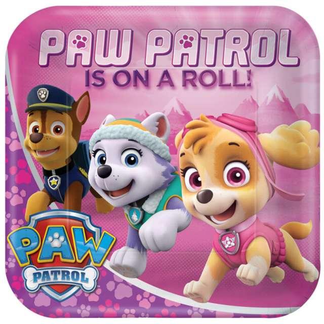 """Talerzyki papierowe """"Paw Patrol Pink"""", kwadratowe, 23 cm, 8 szt"""