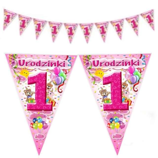 """Baner flagi """"1 Urodzinki"""", różowy 2 m"""