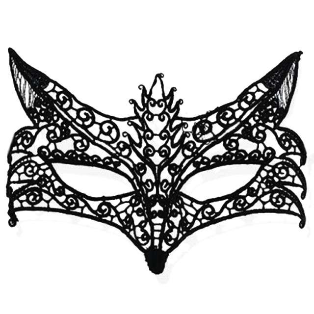 """Maska karnawałowa """"Wilczyca"""", czarna ażurowa"""