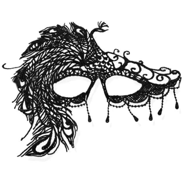 """Maska karnawałowa """"Paw"""", czarna ażurowa"""