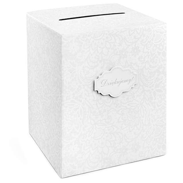 """Pudełko na telegramy """"Biała Koronka Dziękujemy"""""""