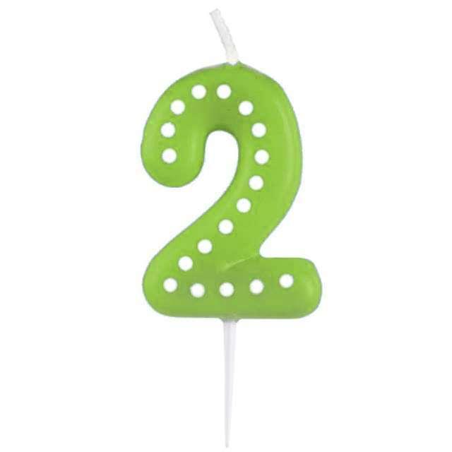 """Świeczka na tort """"Cyfra 2 Kropeczki"""", AMSCAN, zielona"""