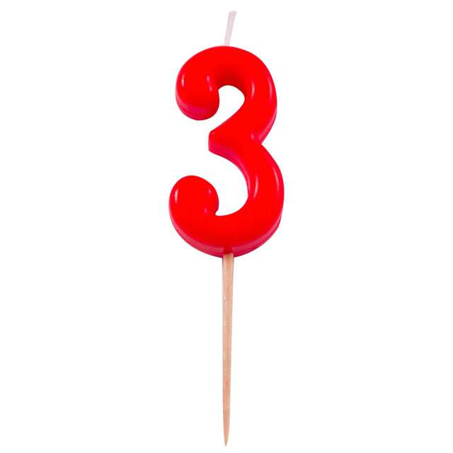 """Świeczka na tort """"3"""", FOLAT, czerwona"""