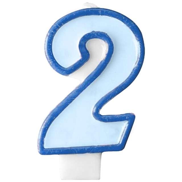 """Świeczka na tort """" 2"""", PARTYDECO, błękitna"""