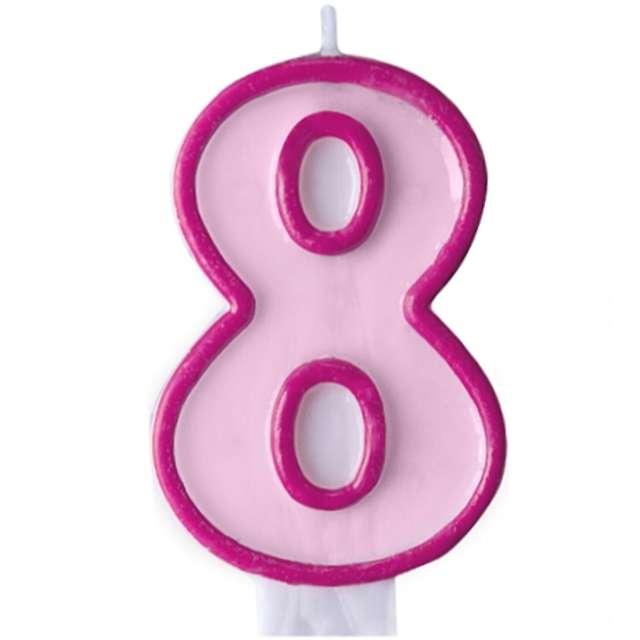 """Świeczka na tort """" 8"""", PARTYDECO, różowa"""