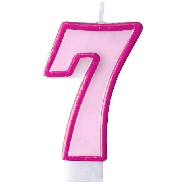 """Świeczka na tort """" 7"""", PARTYDECO, różowa"""