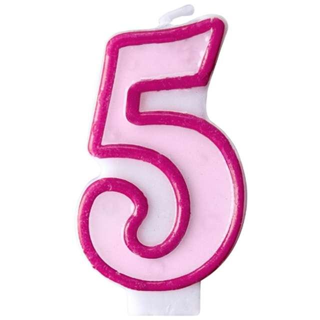 """Świeczka na tort """" 5"""", PARTYDECO, różowa"""