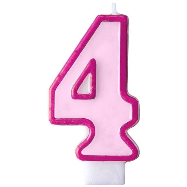 """Świeczka na tort """" 4"""", PARTYDECO, różowa"""