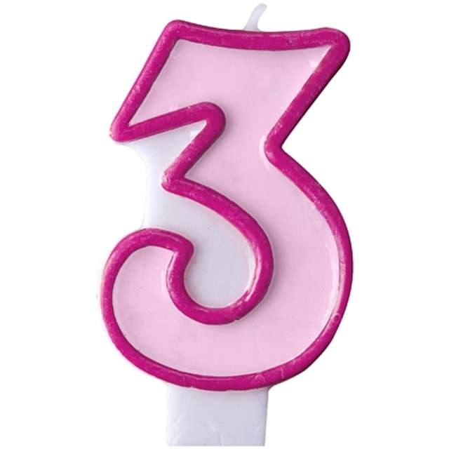 """Świeczka na tort """" 3"""", PARTYDECO, różowa"""