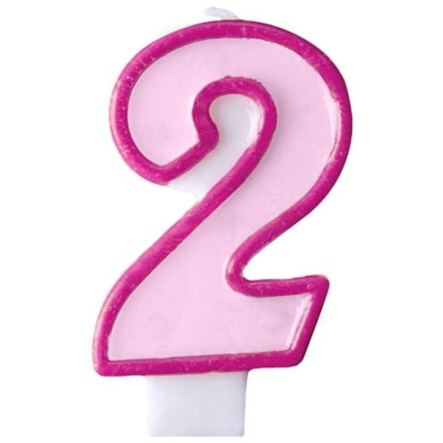 """Świeczka na tort """" 2"""", PARTYDECO, różowa"""