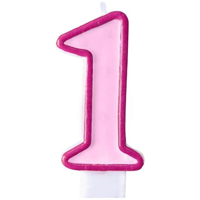 """Świeczka na tort """" 1"""", PARTYDECO, różowa"""