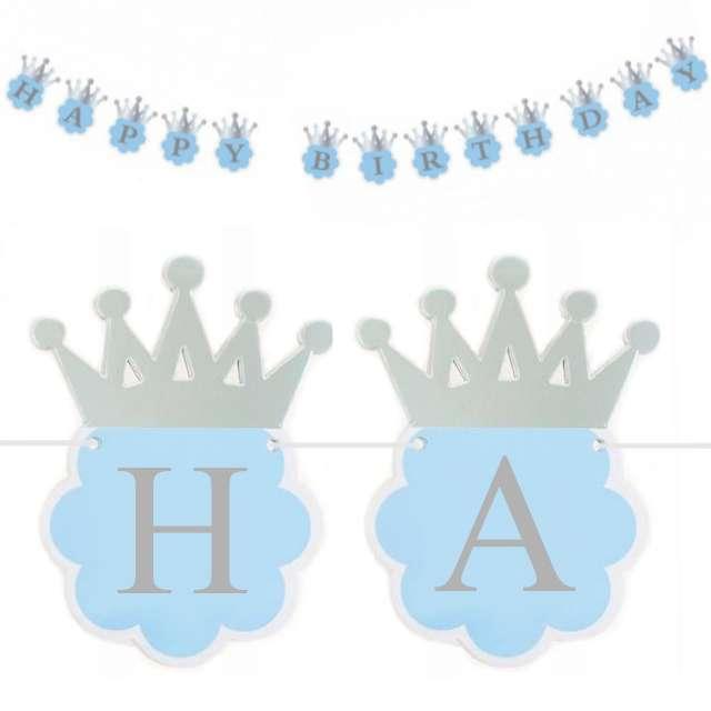 "Girlanda ""Happy Birthday Korona"", błękitny, 180 cm"