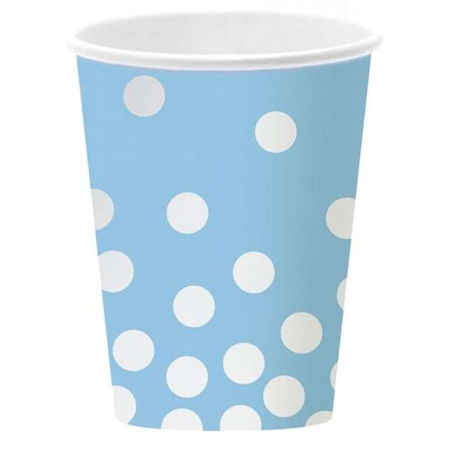 """Kubeczki papierowe """"Srebrne Groszki"""", błękitne, 270 ml, 6 szt"""