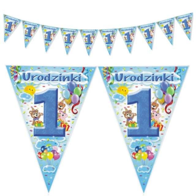 """Baner flagi """"1 Urodzinki"""", błękitny, 2 m"""