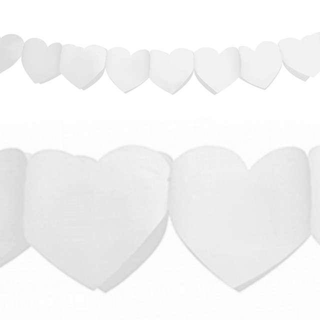 Girlanda bibułowa serca, biała, 11x300 cm, 1 szt.
