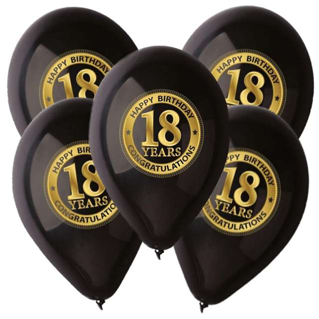 "Balony ""18 Happy Birthday"", pastel black, GEMAR, 12"", 5 szt"