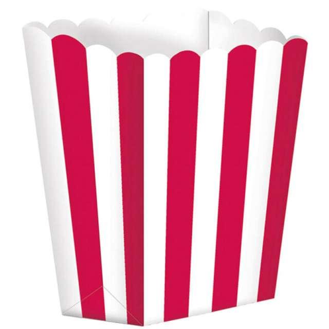 """Pudełka na popcorn """"Paski"""", czerwone, 5 szt"""