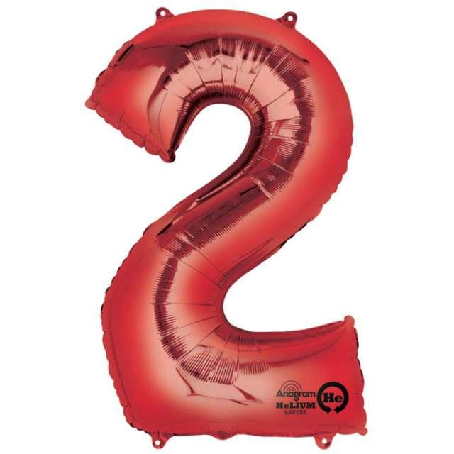 """Balon foliowy cyfra 2, czerwony, AMSCAN, 34"""""""