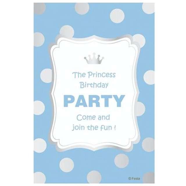 """Zaproszenia z kopertą """"Princess Birthday błękitne"""", 6 szt"""