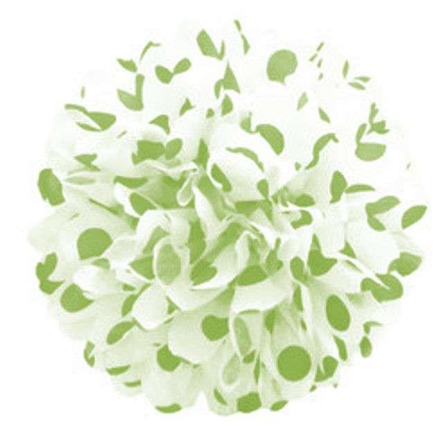 Pompon bibułowy, biały w zielone j. kropki, 24 cm