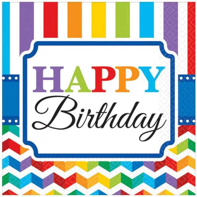 "Serwetki ""Happy Birthday Rainbow"", 25 cm, 16 szt"