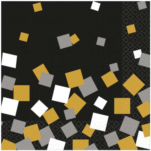 "Serwetki 20 cm, ""Sparkling Confetti"", AMSCAN, czarne, 16 szt"